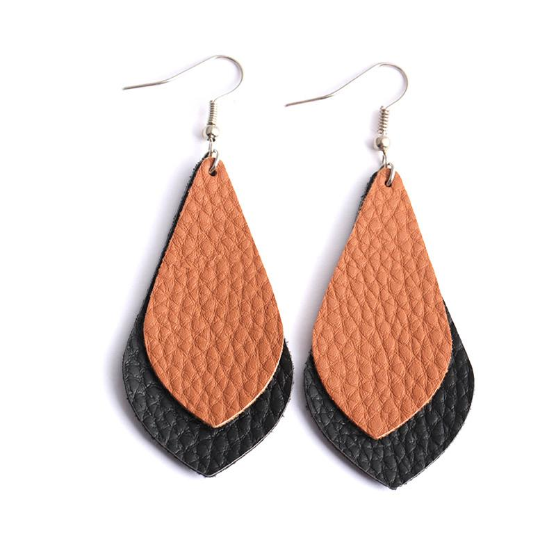 Double Layered Vegan Leather Earrings - Ellevoke