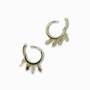 Gold Rhombus Drop Earrings 925 Silver - Ellevoke