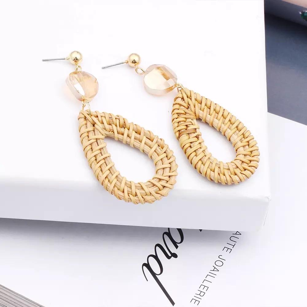 Rattan Drop Earrings Shiny - Ellevoke