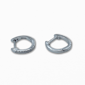 Thin Crystal Hoops 925 Silver - Ellevoke