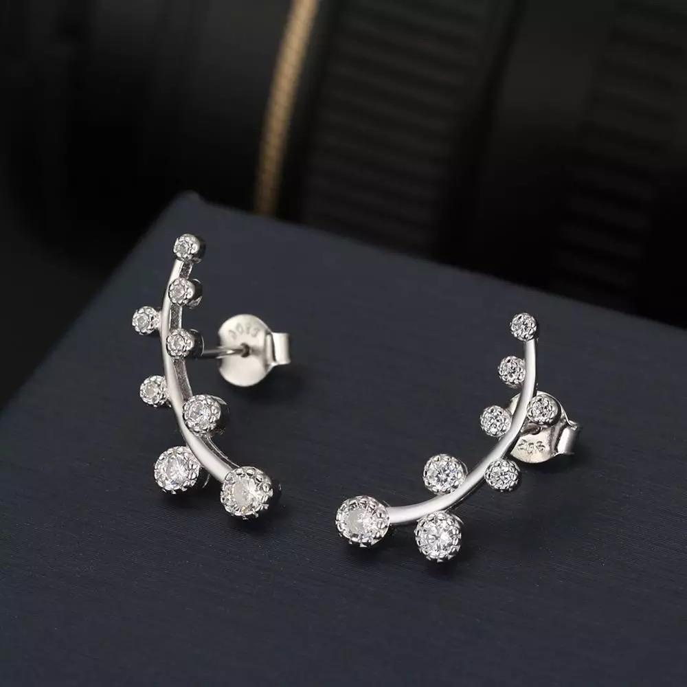Crystal Flower Tendril Earrings 925 Silver - Ellevoke