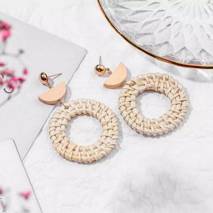 Rattan Earrings Ring Half Moon - Ellevoke
