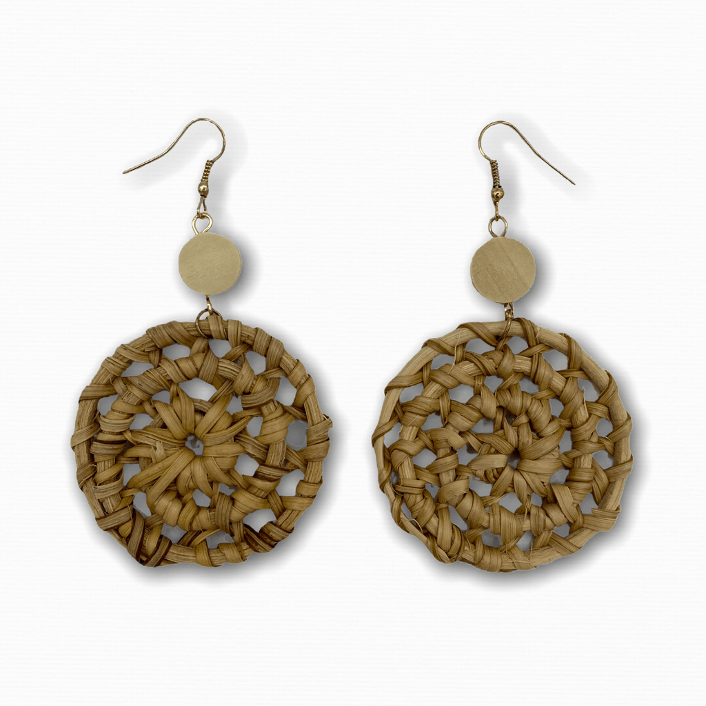 Rattan Earrings Mandala - Ellevoke
