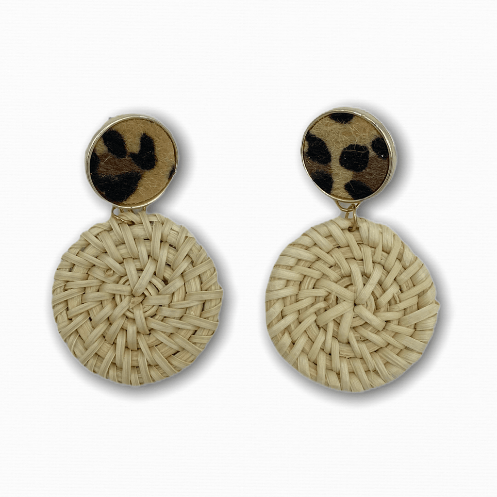 Rattan Earrings Round Leo - Ellevoke