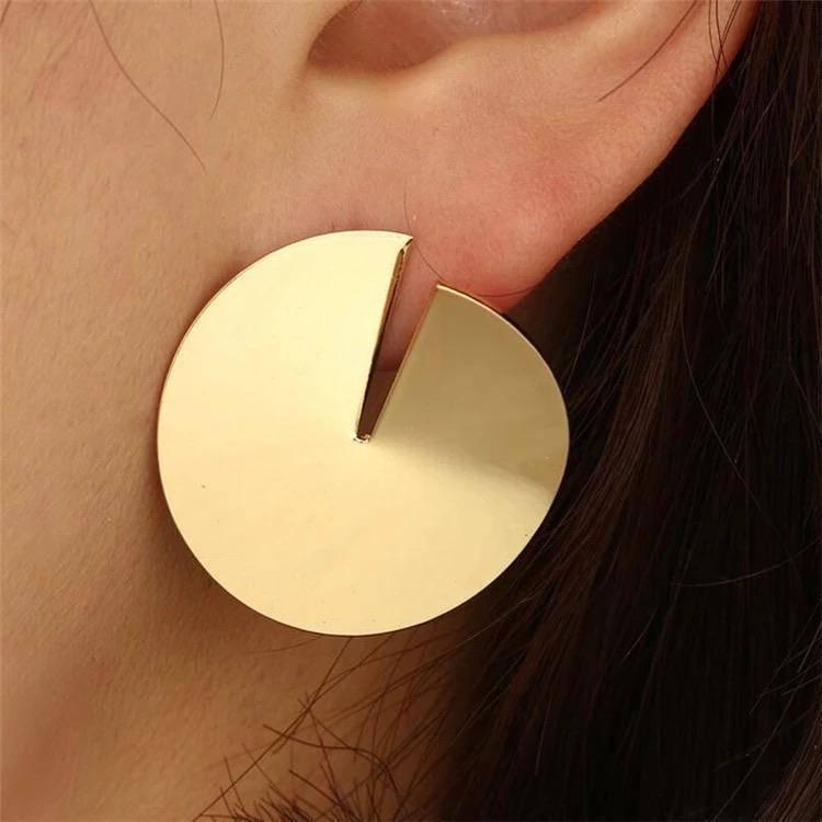 Open Cut Metal Circle Earrings - Ellevoke