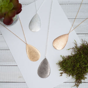 Metal Teardrop Necklace in Gold, Silver, Rose Gold or Hematite