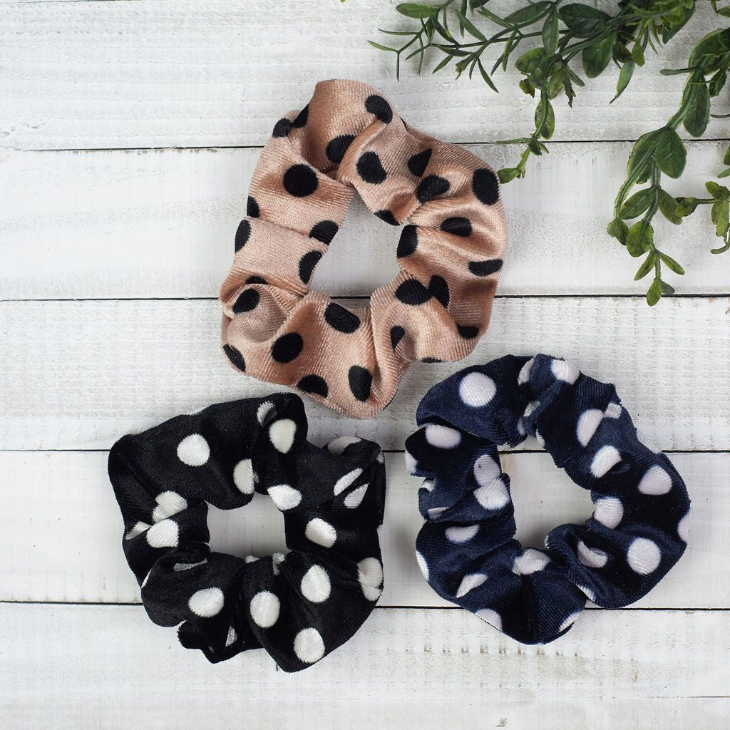 Hair Scrunch Set in Black, Navy and Khaki Dots