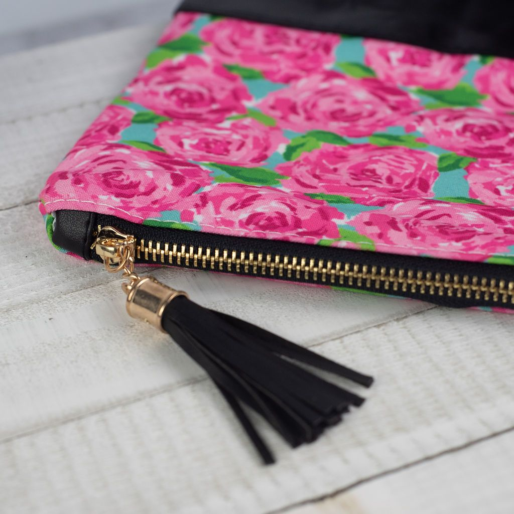 Roses Zip Clutch with Tassel
