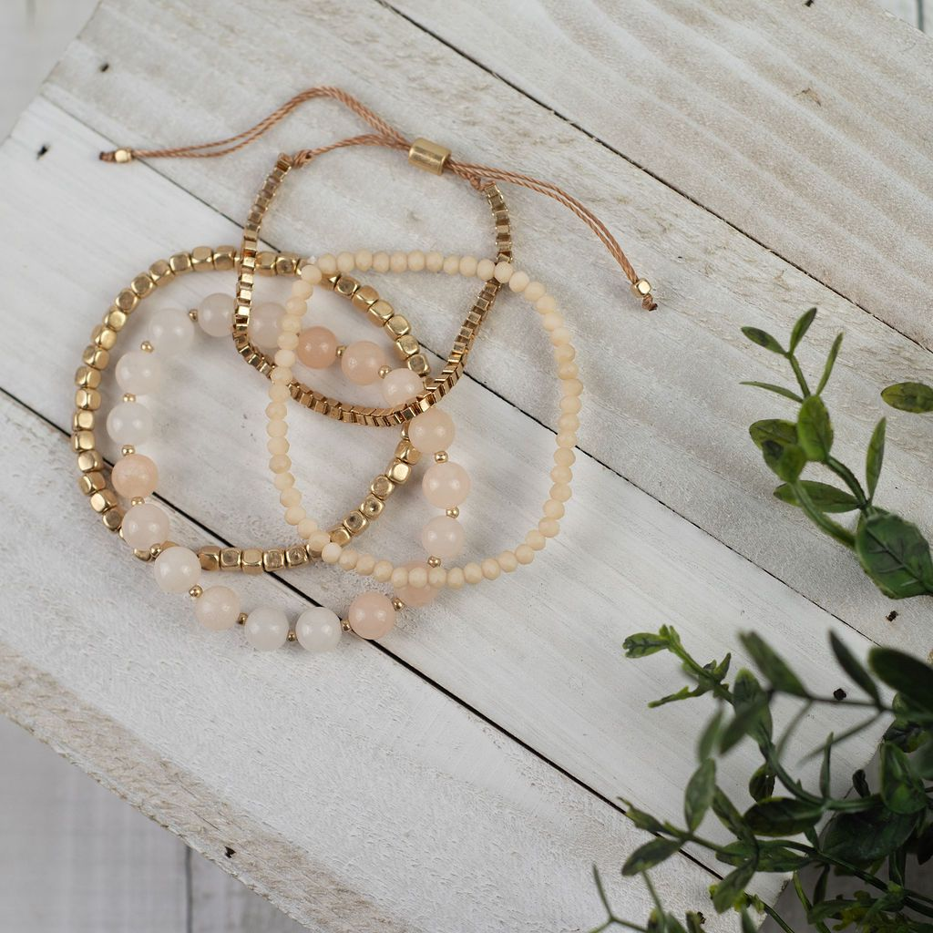 Bella Blush Beaded Bracelet Stack