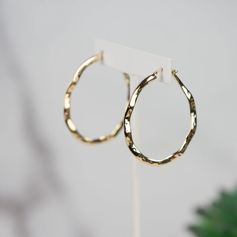 Ama Hammered Hoops in Gold or Silver - Kick It Boutique