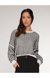 Zig Zag cropped sweater - Kick It Boutique