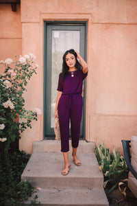 Girl Next Door Jumpsuit In Plum