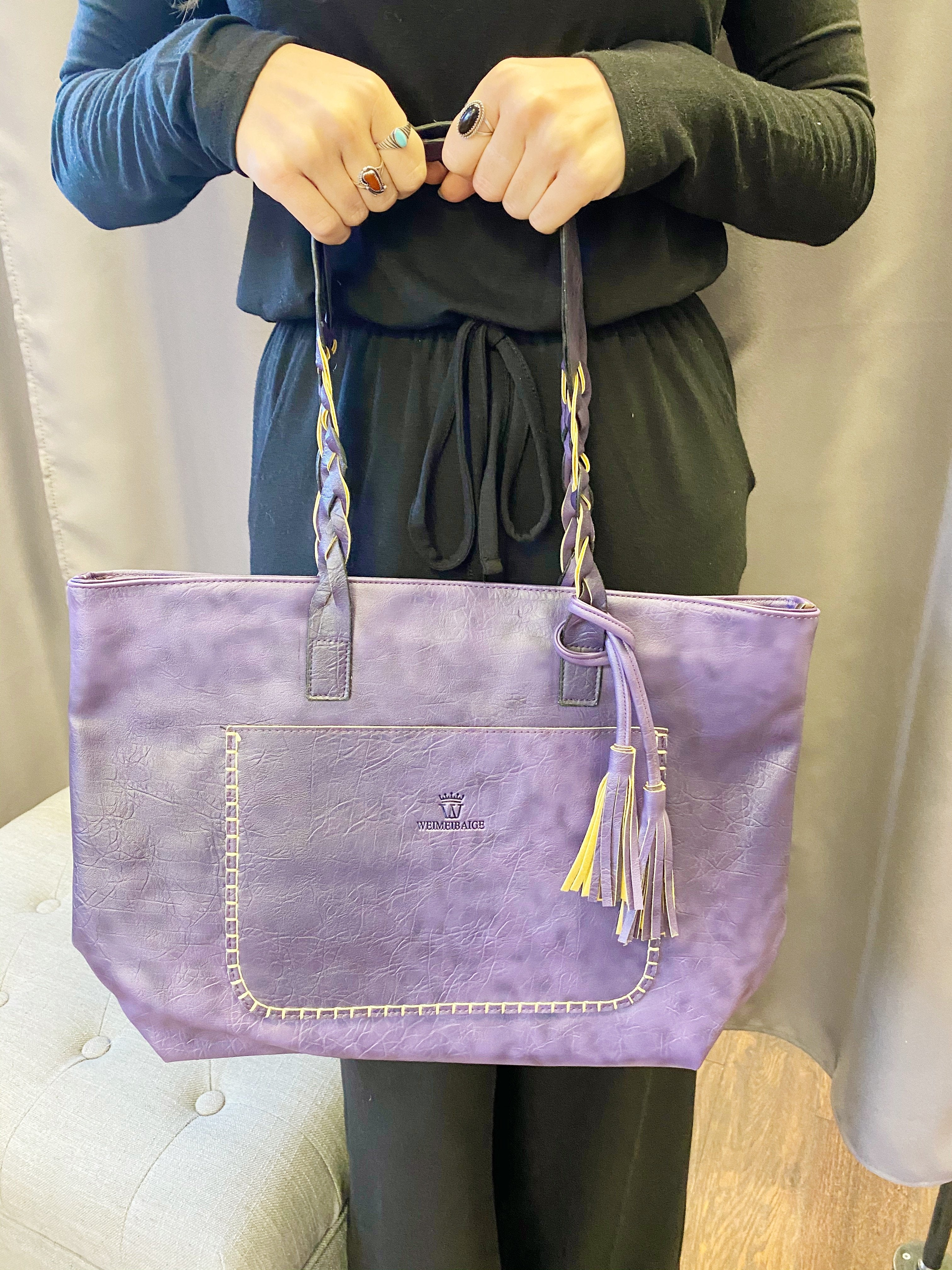 Braided Handle Tassel Tote in Faux Leather