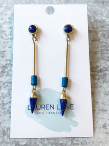 Indigo Bead and Bar Dangles