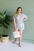 Comfort Stripes Romper In Heather Gray