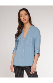 Chambray Convertible Sleeve Blouse - Kick It Boutique