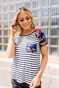 Flower Power Raglan Top In Blue