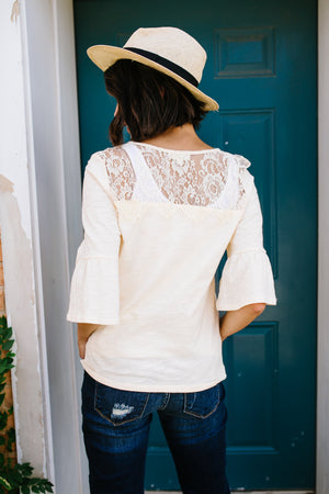 Light Peachy Lace Yoke Top