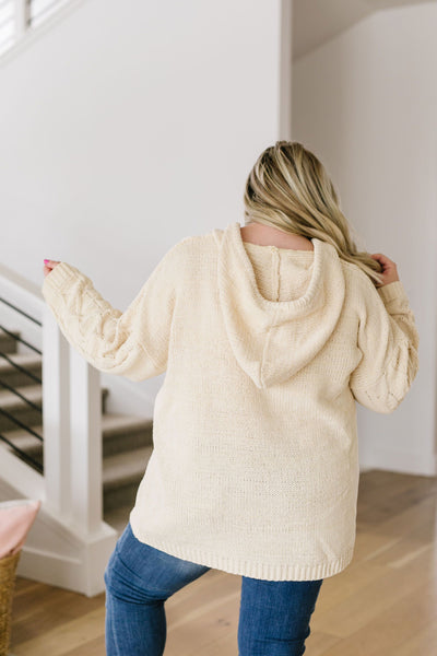 Nantucket Hooded Cable Knit Sweater In Cream - Kick It Boutique