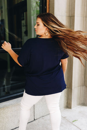Nessa Crew Neck Top In Navy PLUS