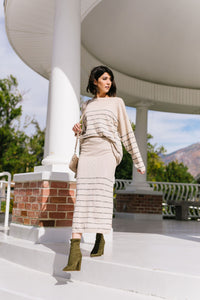 Part Time Striped Sweater Skirt - Kick It Boutique