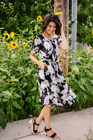 Passion Flower Black Dress