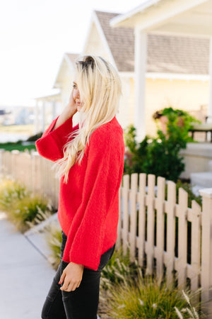 Red Bell-Sleeve Mock Neck Sweater