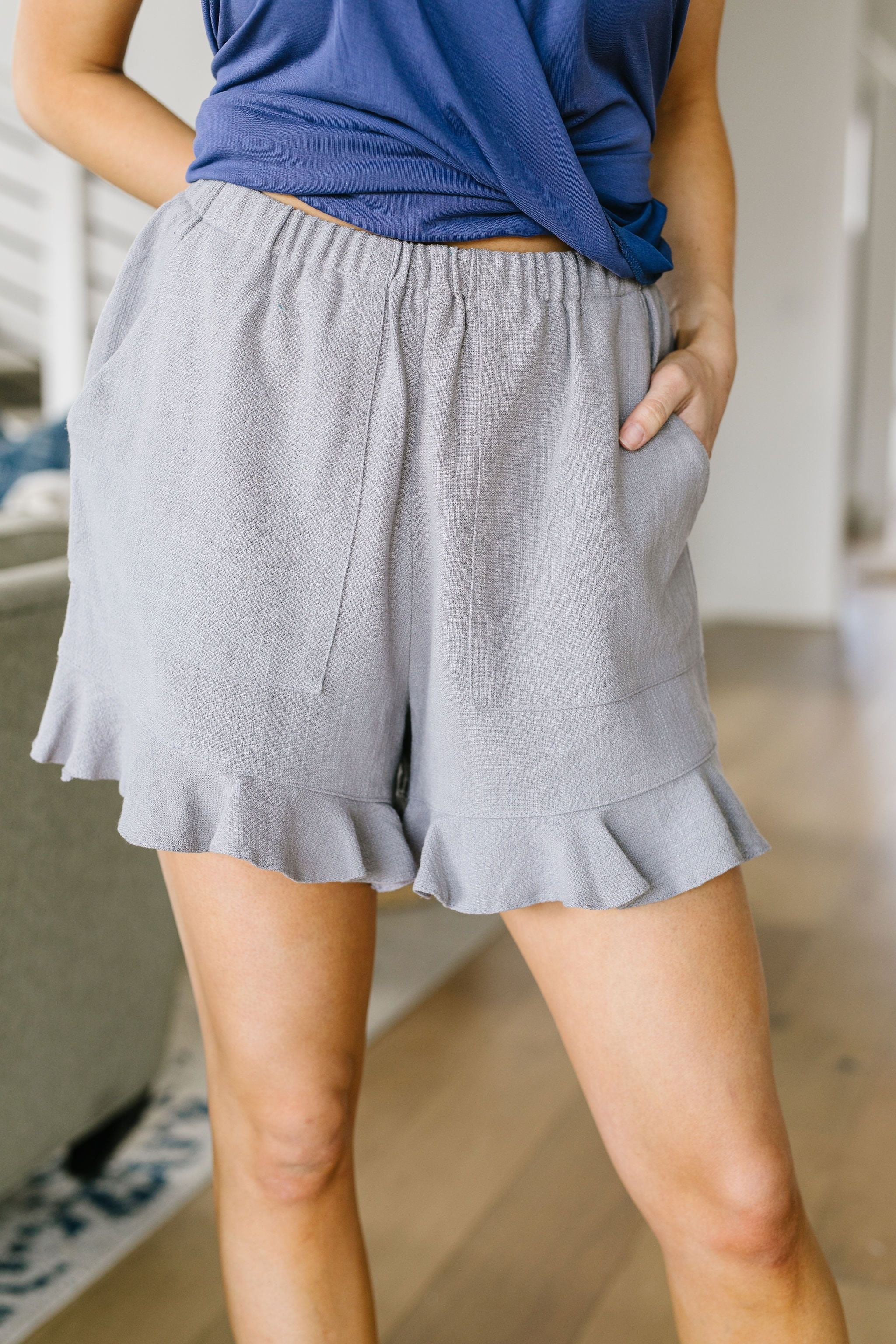 Ruffly Speaking Shorts In Silver