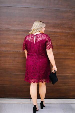 Scalloped Lace Overlay Dress