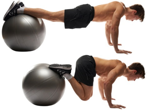 Exercise ball pull-in