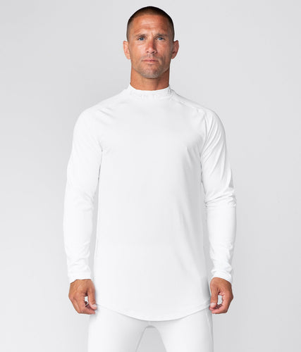Born Tough United Kingdom Mock Neck Elegant Fitting Long Sleeve Compression Gym Workout Shirt For Men White