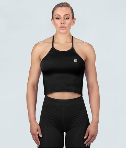 Born Tough United Kingdom Core Flexible Fabric Black Sheer Halter Gym Workout Top for Women