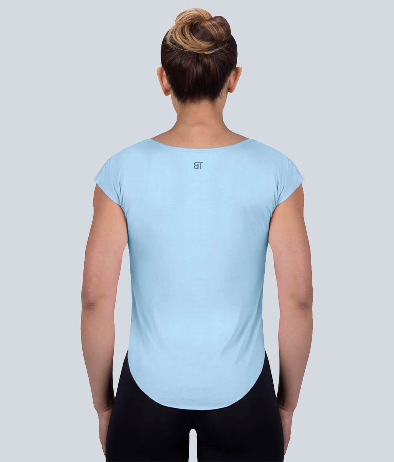 Born Tough United Kingdom Capped Sheer Accentuated Seams Blue Sleeveless Gym Workout Shirt for Women