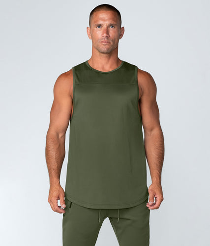 Born Tough United Kingdom Momentum Highly Breathable Fitted Gym Workout Tank Top For Men Military Green