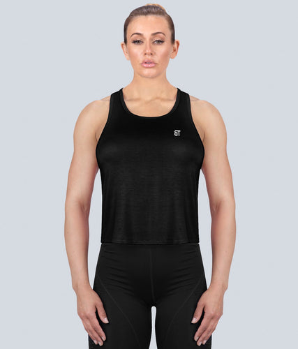Born Tough United Kingdom Limitless Flexible Fabric Black Sheer Gym Workout Tank Top for Women