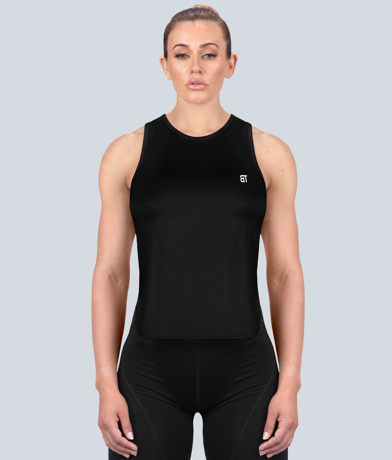 Born Tough United Kingdom Limitless Muscle Flexible Fabric Black Sheer Gym Workout Tank Top for Women