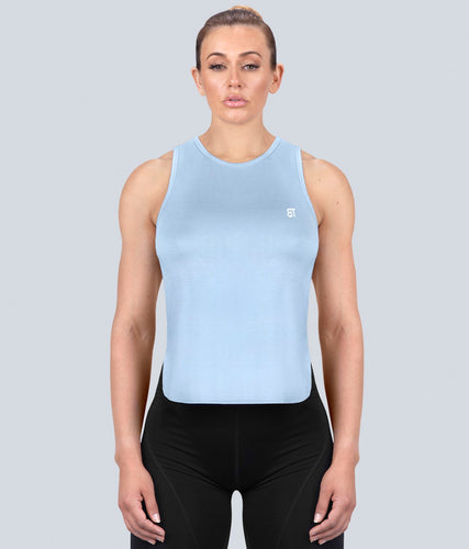 Born Tough United Kingdom Limitless Muscle Flexible Fabric Blue Sheer Gym Workout Tank Top for Women