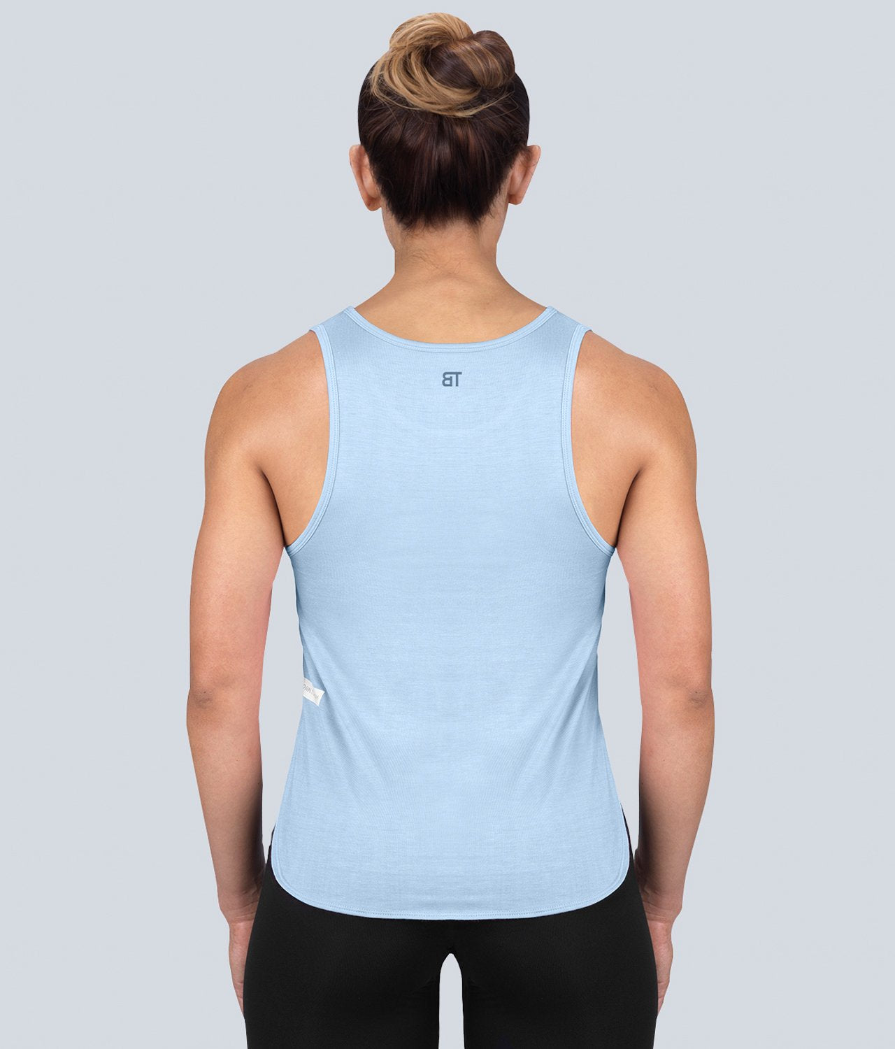 Born Tough United Kingdom Limitless Muscle Lightweight Soft Material Blue Sheer Gym Workout Tank Top for Women