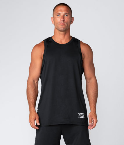 Born Tough United Kingdom Air Pro™ Black Fitted Tank Extended back hem Gym Workout Tank Top for Men
