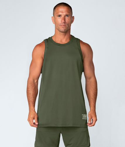 Born Tough United Kingdom Air Pro™ Military Green Fitted Tank Extended back hem Gym Workout Tank Top for Men