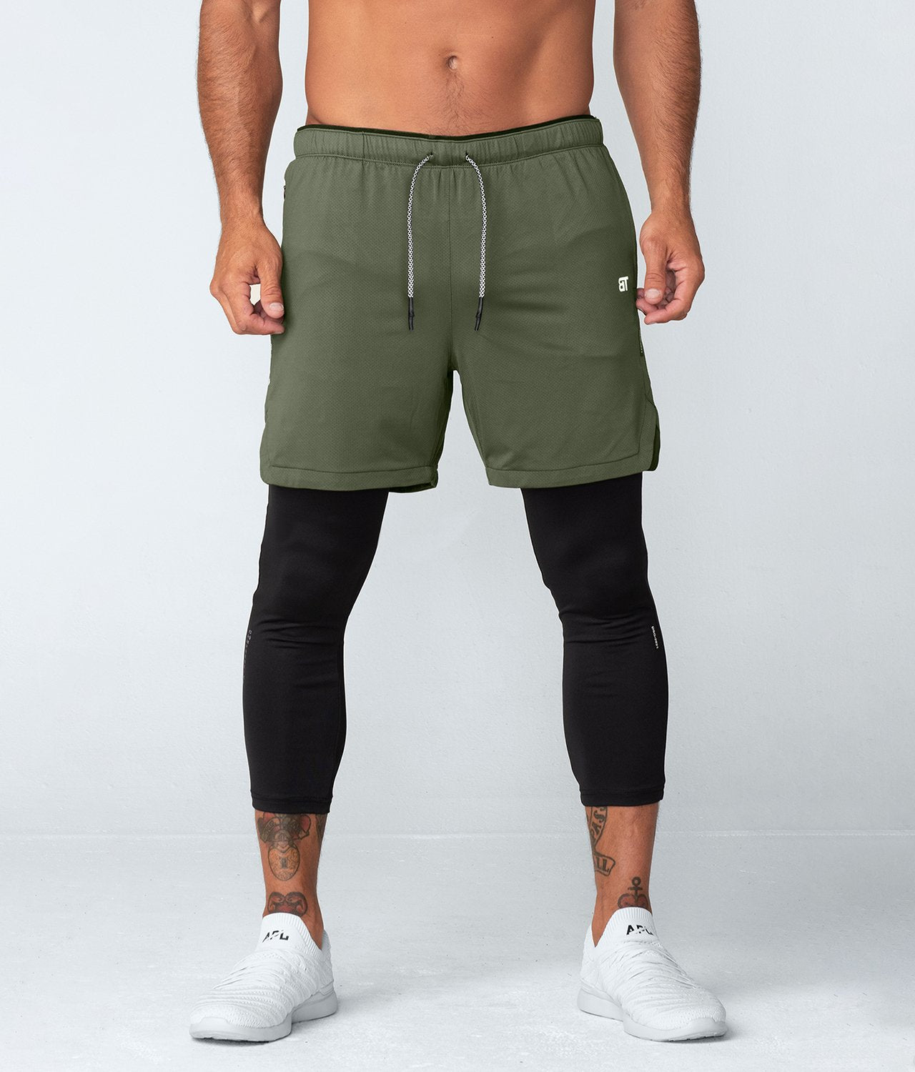 Born Tough United Kingdom Air Pro™ Men's Dual-Layered Gym Workout Shorts With Legging Liner Military Green