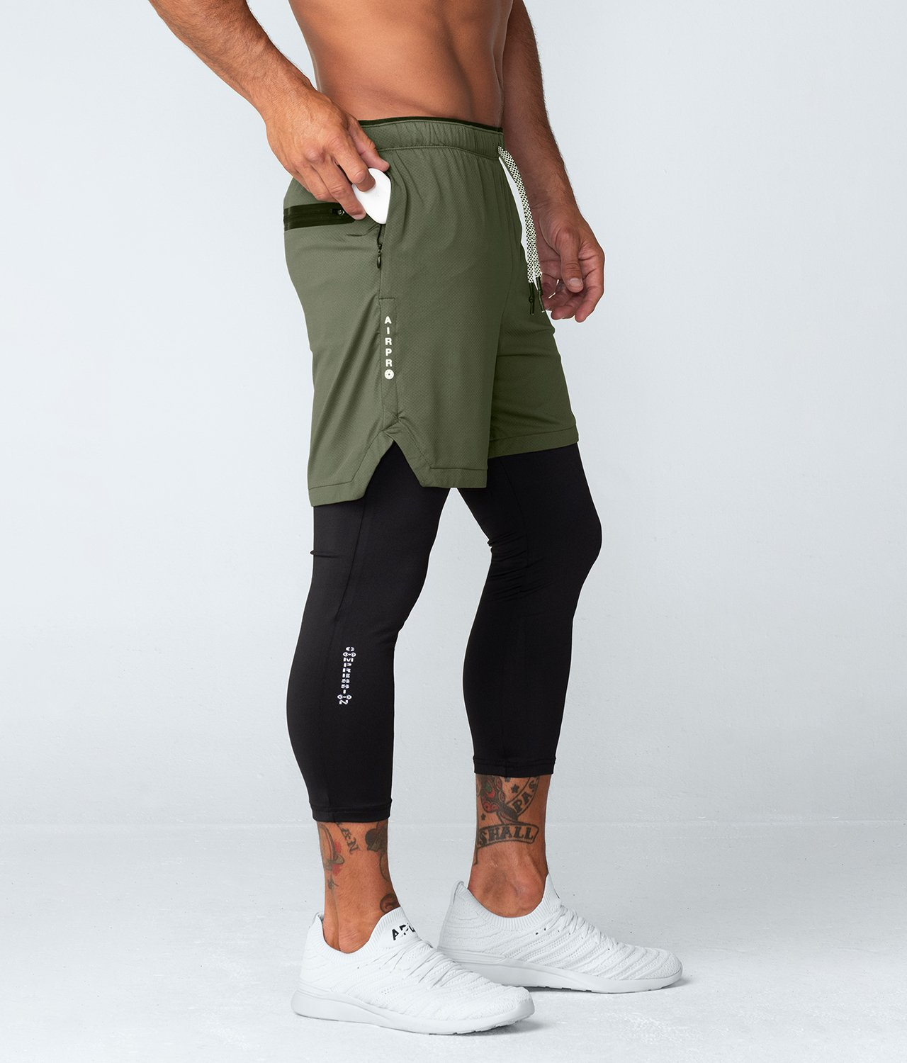 Born Tough United Kingdom Air Pro™ Men's Ventilated Gym Workout Shorts With Legging Liner Military Green