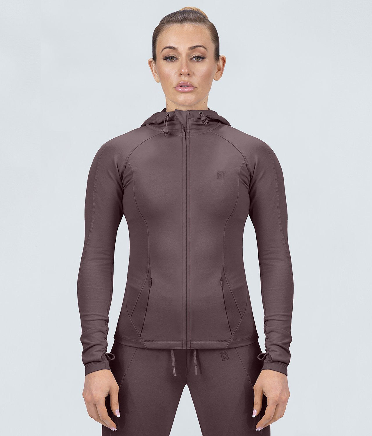 Born Tough United Kingdom Contoured Ash Brown Adjustable Sleeve Loops Gym Workout Tracksuit Hoodie for Women