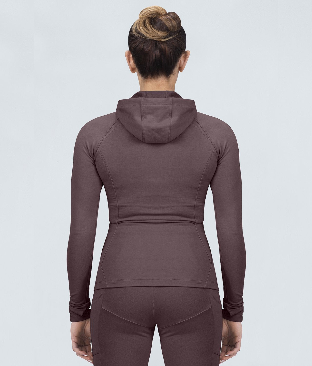 Born Tough United Kingdom Contoured Ash Brown Zippered Closure Sleeve Loops Gym Workout Tracksuit Hoodie for Women