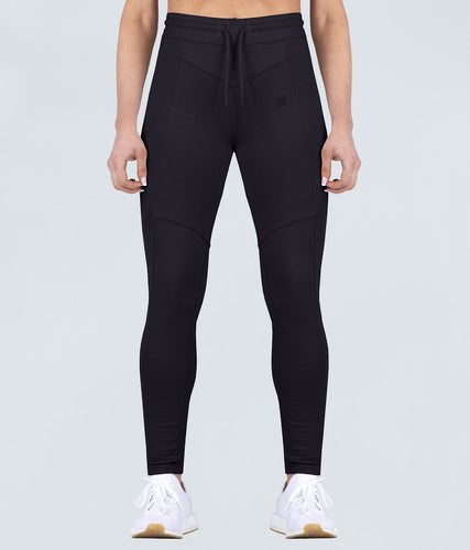 Born Tough United Kingdom Contoured Flexible Fabric Black Gym Workout Tracksuit Jogger Leggings for Women