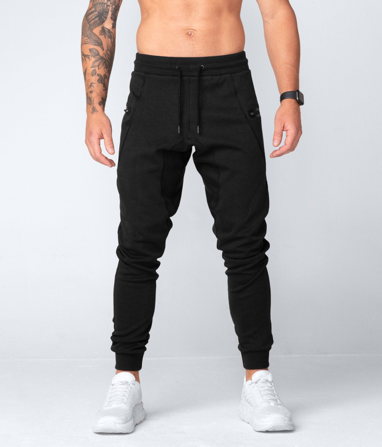 Born Tough United Kingdom Core Fit Zippered High-Quality Black Gym Workout Jogger Pants for Men