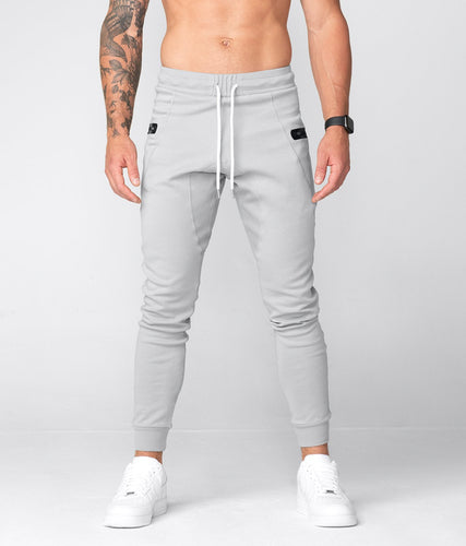 Born Tough United Kingdom Core Fit Zippered High-Quality Gray Gym Workout Jogger Pants for Men