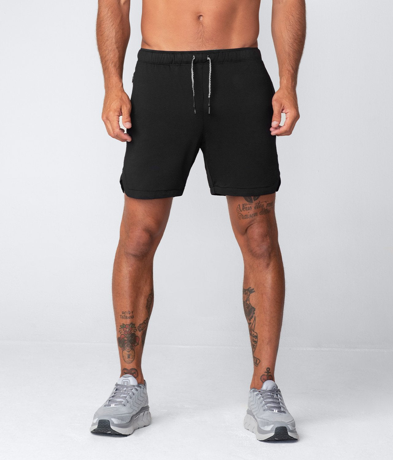 "Born Tough United Kingdom Air Pro™ 7"" Double layered Ink Black Men's Gym Workout Shorts with Liner"