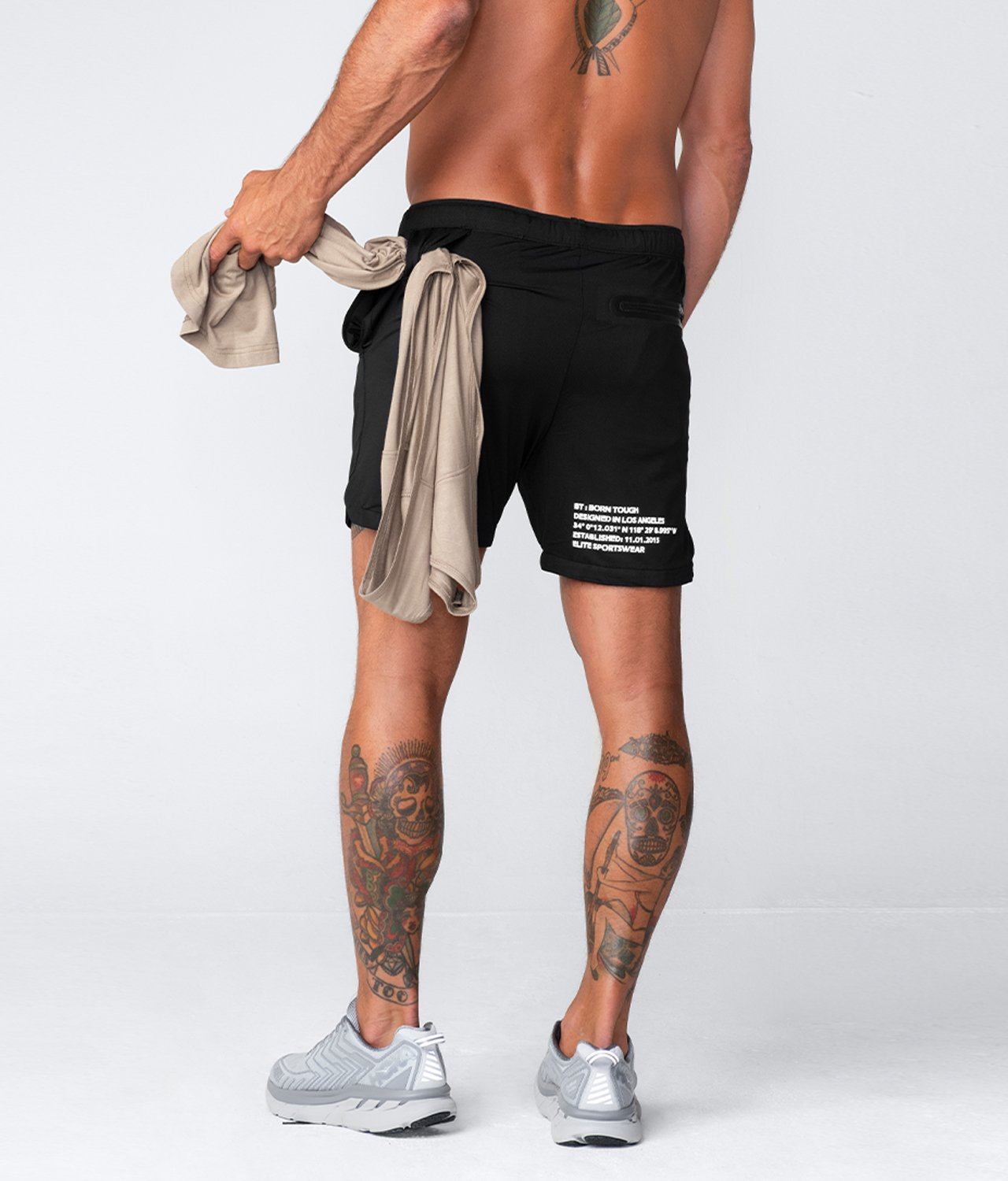 "Born Tough United Kingdom Air Pro™ 7"" Waist-Looped Ink Black Men's Gym Workout Shorts with Liner"