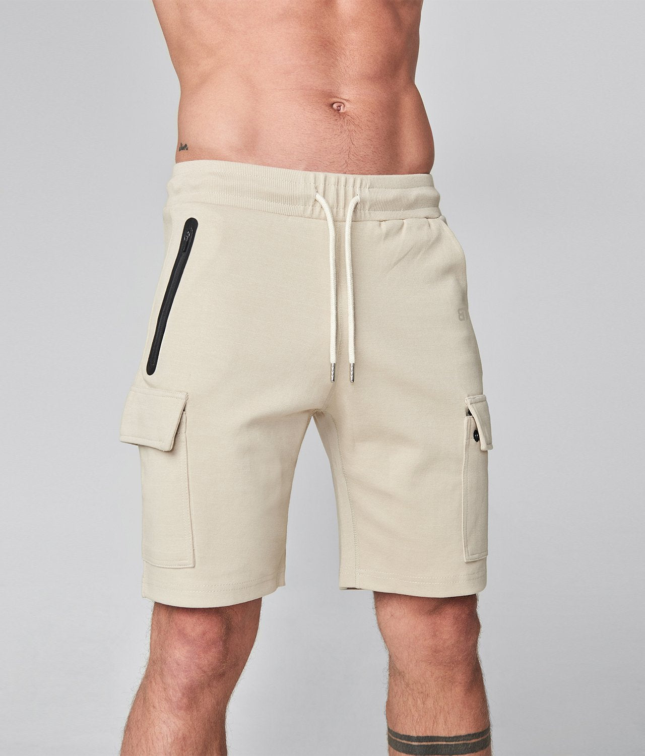Born Tough United Kingdom Zippered Stone Comfortable Gym Workout Cargo Shorts for Men